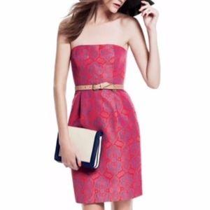 J. CREW Ella Red/CoralPurple Print Strapless Dress